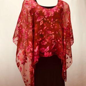 NWT Naps & Nites Studio Hand Dyed Silk Poncho